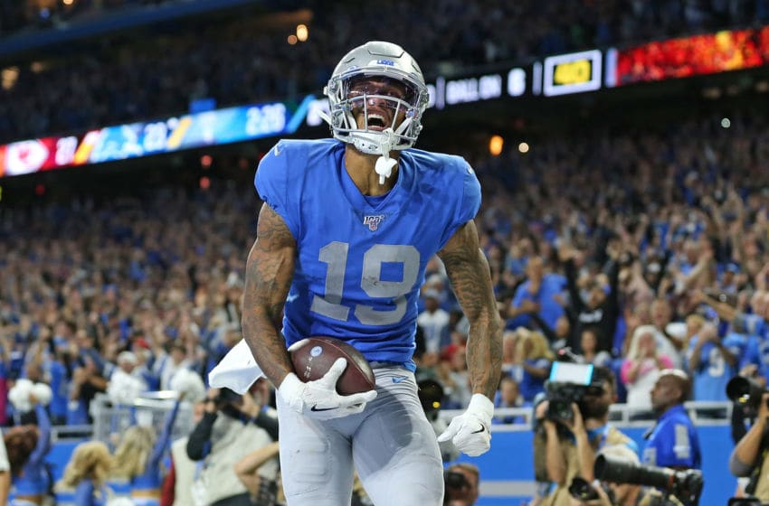 DETROIT, MI - SEPTEMBER 29: Kenny Golladay #19 of the Detroit Lions celebrates a late fourth quarter touchdown during the game against the Kansas City Chiefs at Ford Field on September 29, 2019 in Detroit, Michigan (Photo by Leon Halip/Getty Images)