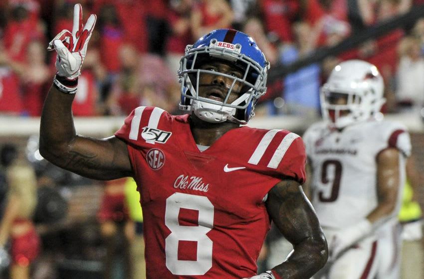 Mississippi Rebels wide receiver Elijah Moore (8) (Justin Ford-USA TODAY Sports)