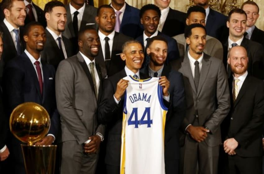 Feb 4, 2016; Washington, DC, USA; President Barack Obama (M) poses with the 2015 NBA Champion Golden State Warriors during a ceremony honoring the Warriors