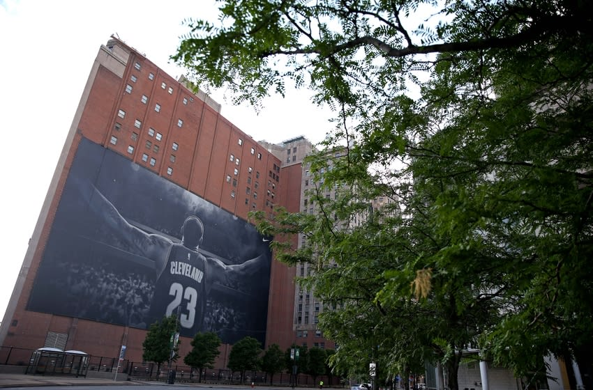 Jun 16, 2016; Cleveland, OH, USA; A view of the billboard with Cleveland Cavaliers forward LeBron James (not picture) outside of the arena before game six of the NBA Finals between the Golden State Warriors and the Cleveland Cavaliers at Quicken Loans Arena. Mandatory Credit: Peter Casey-USA TODAY Sports