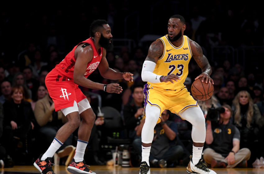 Houston Rockets James Harden defends LeBron James (Photo by Harry How/Getty Images)