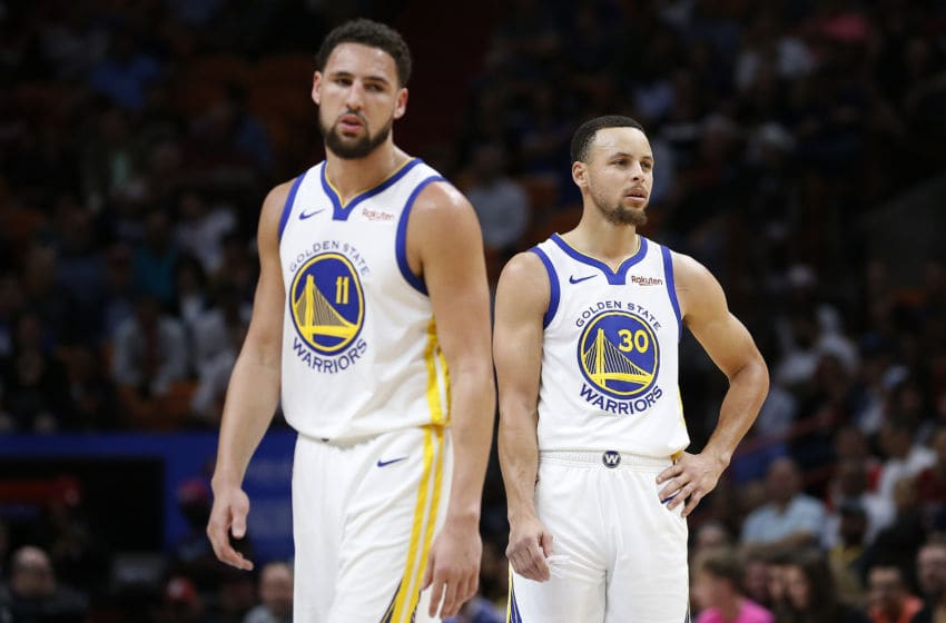 Golden State Warriors Klay Thompson and Stephen Curry (Photo by Michael Reaves/Getty Images)