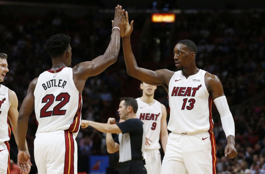 NBA Miami Heat Jimmy Butler and Bam Adebayo (Photo by Michael Reaves/Getty Images)
