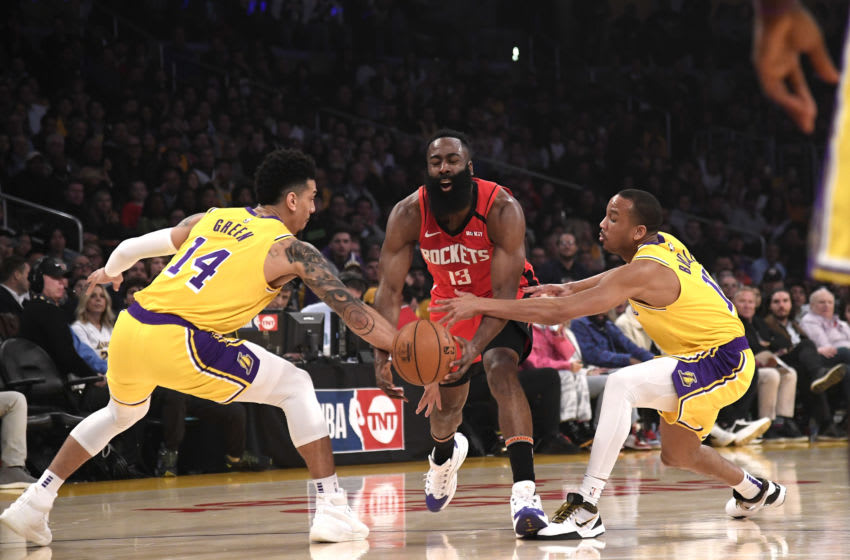 Los Angeles Lakers defend James Harden (Photo by Kevork Djansezian/Getty Images)