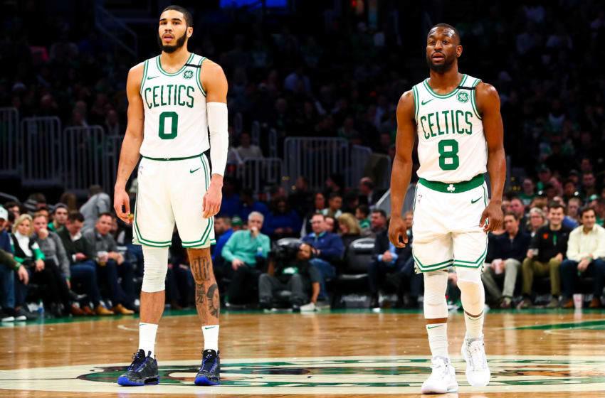 NBA Boston Celtics Jayson Tatum and Kemba Walker (Photo by Adam Glanzman/Getty Images)