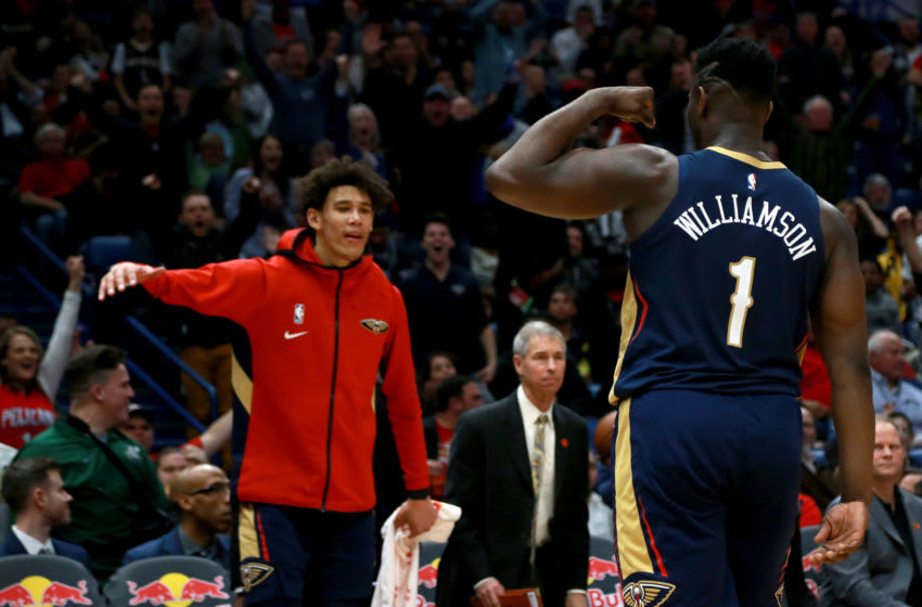NBA New Orleans Pelicans Zion Williamson and Jaxson Hayes (Photo by Sean Gardner/Getty Images)