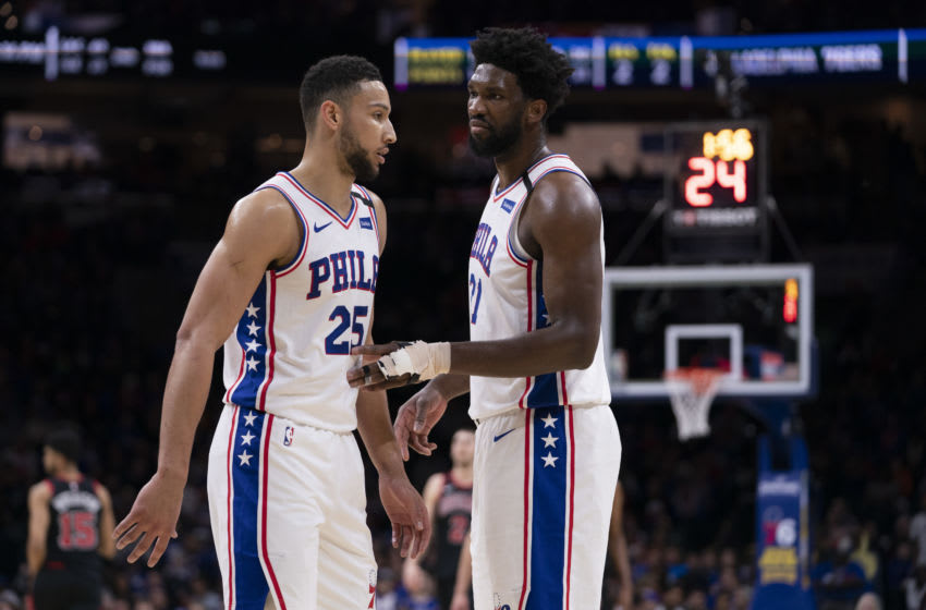 Philadelphia 76ers Ben Simmons and Joel Embiid (Photo by Mitchell Leff/Getty Images)