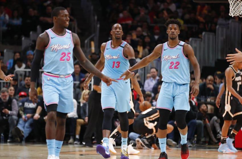 NBA Miami Heat Bam Adebayo, Kendrick Nunn and Jimmy Butler (Photo by Todd Kirkland/Getty Images)