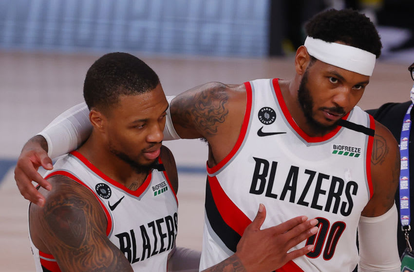 Portland Trail Blazers Carmelo Anthony and Damian Lillard (Photo by Kevin C. Cox/Getty Images)