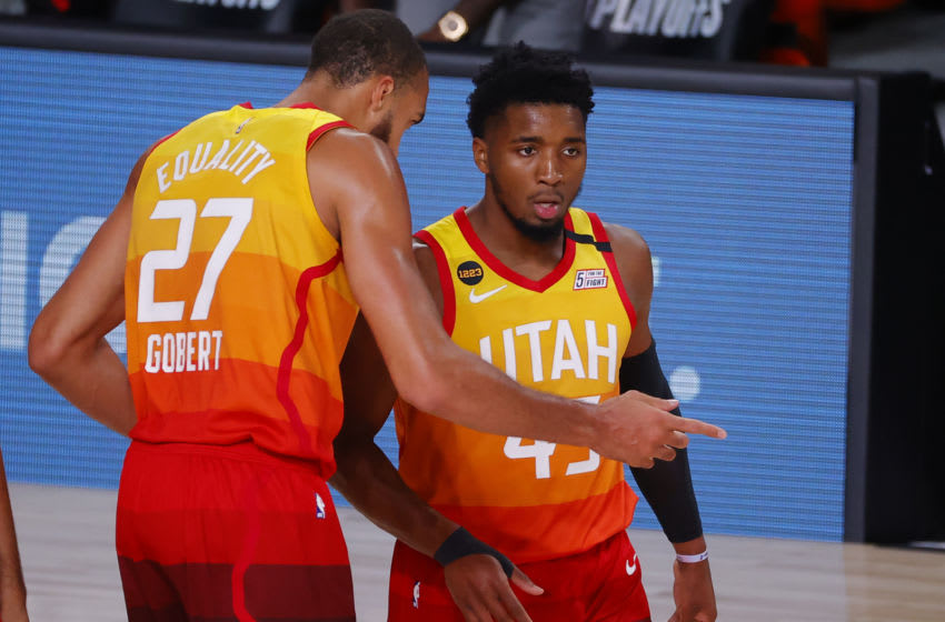 Utah Jazz Donovan Mitchell and Rudy Gobert (Photo by Kevin C. Cox/Getty Images)