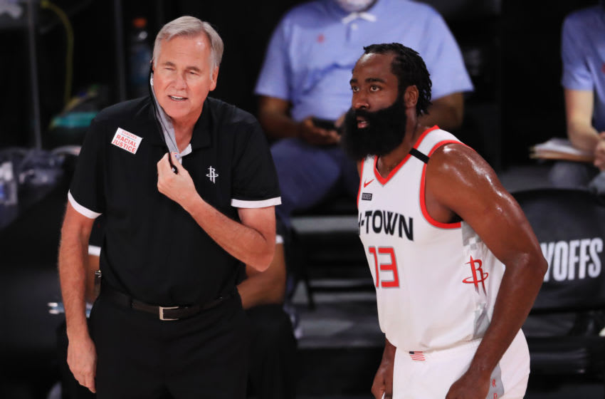 Houston Rockets coach Mike D'Antoni and James Harden (Photo by Mike Ehrmann/Getty Images)