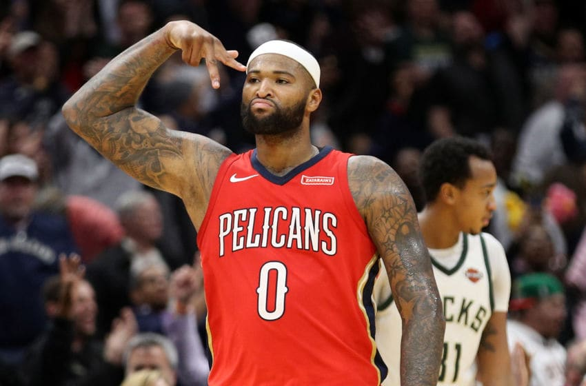 NEW ORLEANS, LA - DECEMBER 13: DeMarcus Cousins #0 of the New Orleans Pelicans reacts after a three point shot against the Milwaukee Bucks at Smoothie King Center on December 13, 2017 in New Orleans, Louisiana. NOTE TO USER: User expressly acknowledges and agrees that, by downloading and or using this photograph, User is consenting to the terms and conditions of the Getty Images License Agreement. (Photo by Chris Graythen/Getty Images)