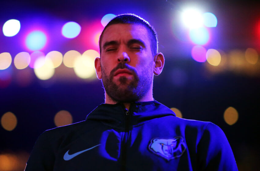 BOSTON, MA - JANUARY 18: Marc Gasol #33 of the Memphis Grizzlies looks on before a game against the Boston Celtics at TD Garden on January 18, 2019 in Boston, Massachusetts. (Photo by Adam Glanzman/Getty Images)