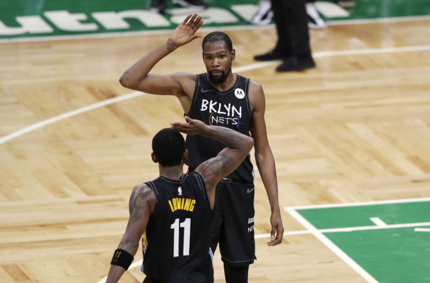 Brooklyn Nets Kevin Durant Kyrie Irving (Photo by Omar Rawlings/Getty Images)