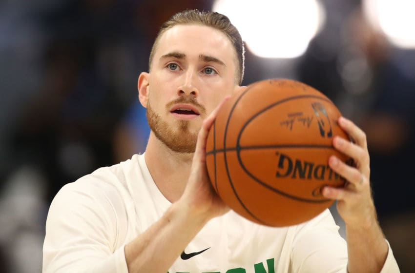 CLEVELAND, OH - OCTOBER 17: Gordon Hayward #20 of the Boston Celtics warms up prior to playing the Cleveland Cavaliers at Quicken Loans Arena on October 17, 2017 in Cleveland, Ohio. NOTE TO USER: User expressly acknowledges and agrees that, by downloading and or using this photograph, User is consenting to the terms and conditions of the Getty Images License Agreement. (Photo by Gregory Shamus/Getty Images)
