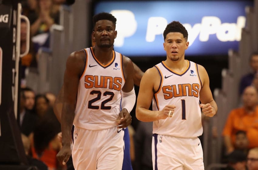 NBA Phoenix Suns Devin Booker and Deandre Ayton (Photo by Christian Petersen/Getty Images)