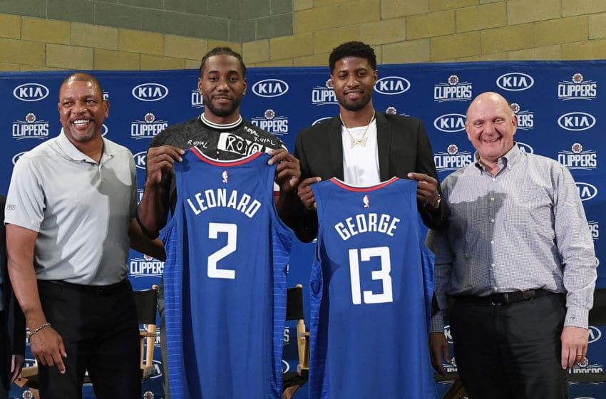 NBA Los Angeles Clippers Paul George, Kawhi Leonard (Photo by Kevork Djansezian/Getty Images)