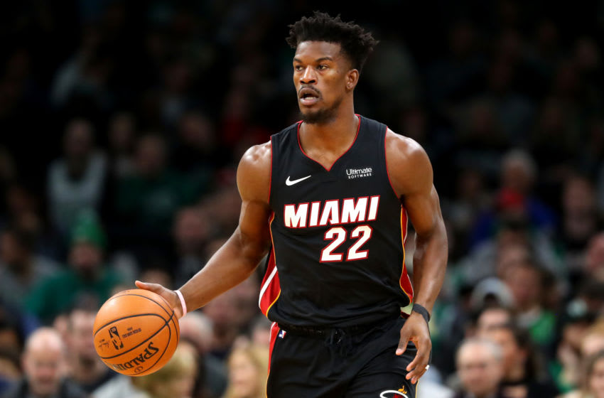 BOSTON, MASSACHUSETTS - DECEMBER 04: Jimmy Butler #22 of the Miami Heat dibbles during the first half of the game between the Boston Celtics and the Miami Heat at TD Garden on December 04, 2019 in Boston, Massachusetts. (Photo by Maddie Meyer/Getty Images)
