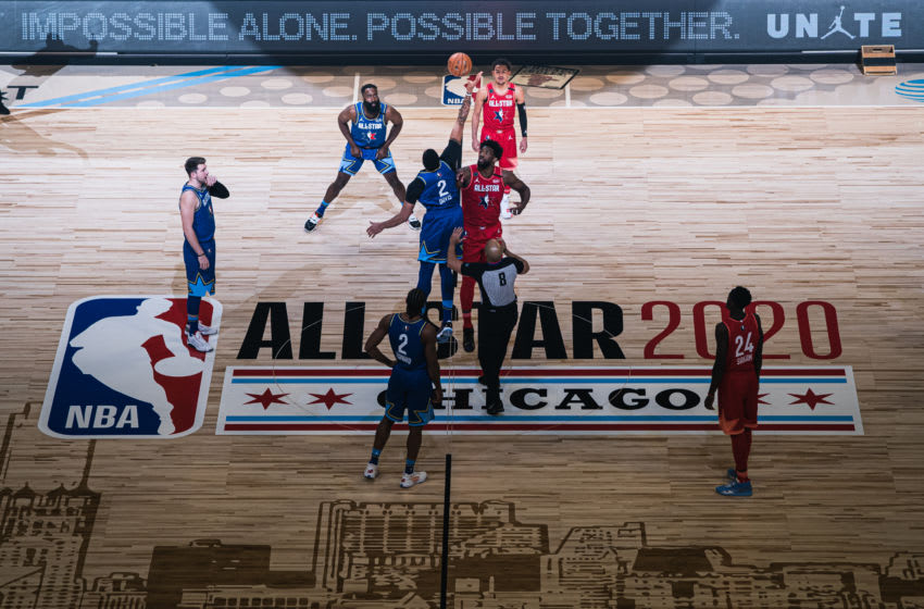 NBA All-Star Game Joel Embiid #24 of Team Giannis and Anthony Davis #2 of Team LeBron (Photo by Lampson Yip - Clicks Images/Getty Images)