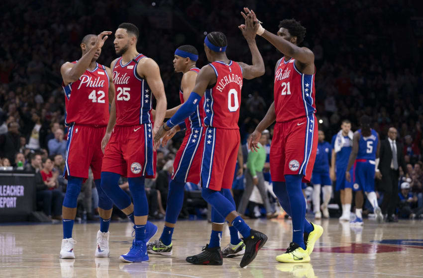 Philadelphia 76ers Al Horford, Ben Simmons, Tobias Harris, Josh Richardson, and Joel Embiid (Photo by Mitchell Leff/Getty Images)