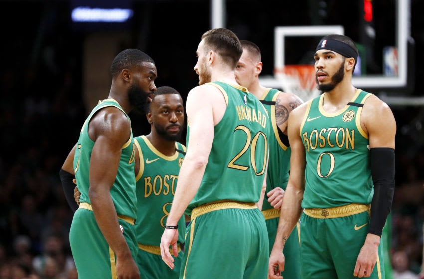 BOSTON, MASSACHUSETTS - JANUARY 30: The Boston Celtics huddle during the first quarter of the game against the Golden State Warriors at TD Garden on January 30, 2020 in Boston, Massachusetts. NOTE TO USER: User expressly acknowledges and agrees that, by downloading and or using this photograph, User is consenting to the terms and conditions of the Getty Images License Agreement. (Photo by Omar Rawlings/Getty Images)