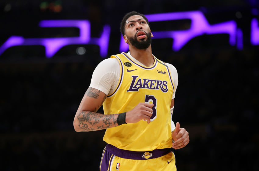 LOS ANGELES, CALIFORNIA - MARCH 03: Anthony Davis #3 of the Los Angeles Lakers runs on the court in a game against the Philadelphia 76ers during the second half at Staples Center on March 03, 2020 in Los Angeles, California. NOTE TO USER: User expressly acknowledges and agrees that, by downloading and or using this Photograph, user is consenting to the terms and conditions of the Getty Images License Agreement. (Photo by Katelyn Mulcahy/Getty Images)