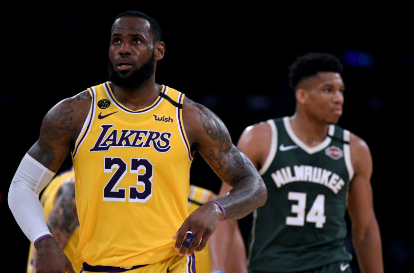 NBA LeBron James and Giannis Antetokounmpo (Photo by Harry How/Getty Images)
