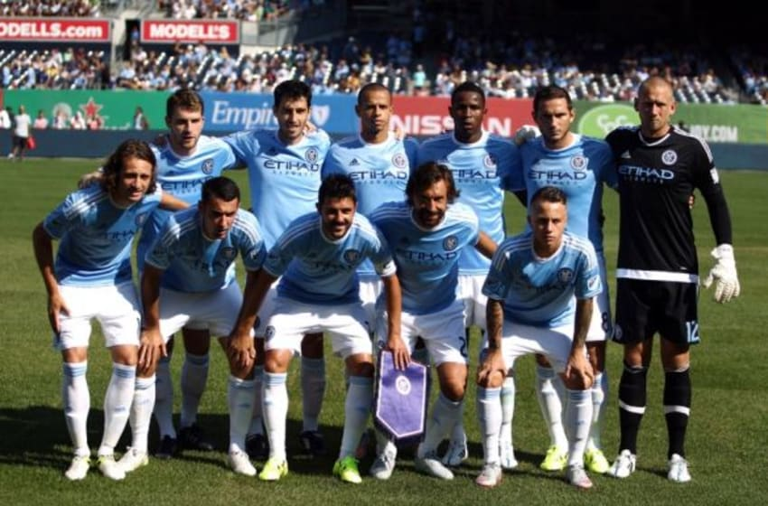 Aug 29, 2015; New York, NY, USA; New York City FC players pose for a team photo before a game against Columbus Crew SC at Yankee Stadium. Mandatory Credit: Danny Wild-USA TODAY Sports