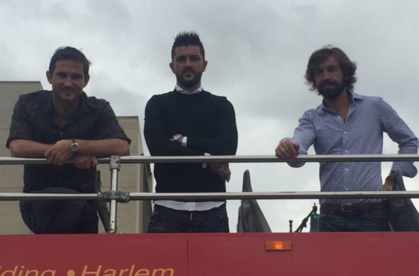 Sep 22, 2015; New YorkCity , NY, USA; New York City FC midfielder Frank Lampard, forward David Villa and midfielder Andrea Pirlo honored by Ride of Fame.Credit: John Tolis