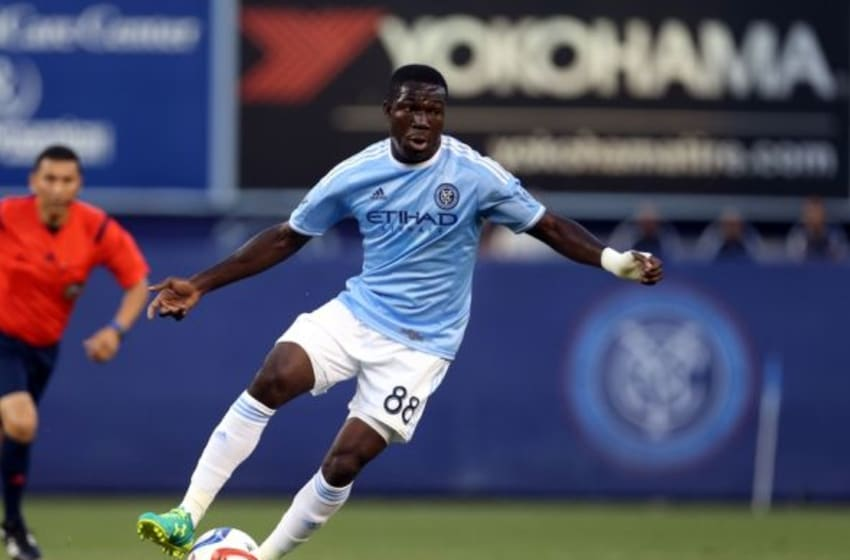 Aug 13, 2015; New York, NY, USA; New York City FC midfielder Kwadwo Poku (88) in action against the D.C. United during the first half of their soccer match at Yankee Stadium. Mandatory Credit: Adam Hunger-USA TODAY Sports
