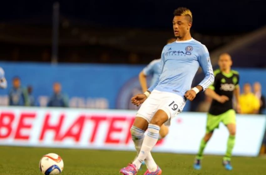 May 3, 2015; New York, NY, USA; New York City FC forward Khiry Shelton (19) in action against the Seattle Sounders FC during the second half of a soccer game at Yankee Stadium. The Sounders FC defeated the New York City FC 3 - 1. Mandatory Credit: Adam Hunger-USA TODAY Sports