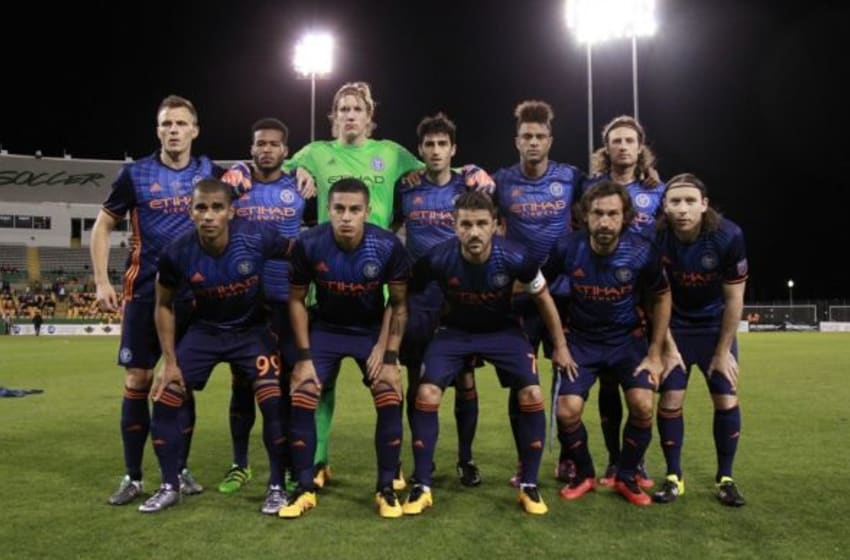 Feb 17, 2016; St. Petersburg, FL, USA; New York City FC poses for a team photo before the game against the Montreal Impact during the first half at Al Lang Stadium. Mandatory Credit: Kim Klement-USA TODAY Sports