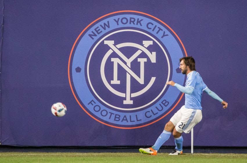 Apr 10, 2016; New York, NY, USA; New York City FC midfielder Andrea Pirlo (21) kicks the ball during the first half at Yankee Stadium against the Chicago Fire. NYCFC and Chicago played to a 0-0 tie. Mandatory Credit: Vincent Carchietta-USA TODAY Sports