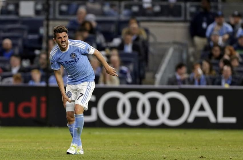 Apr 27, 2016; New York, NY, USA; New York City FC forward David Villa (7) reacts during the first half against the Montreal Impact at Yankee Stadium. Mandatory Credit: Adam Hunger-USA TODAY Sports