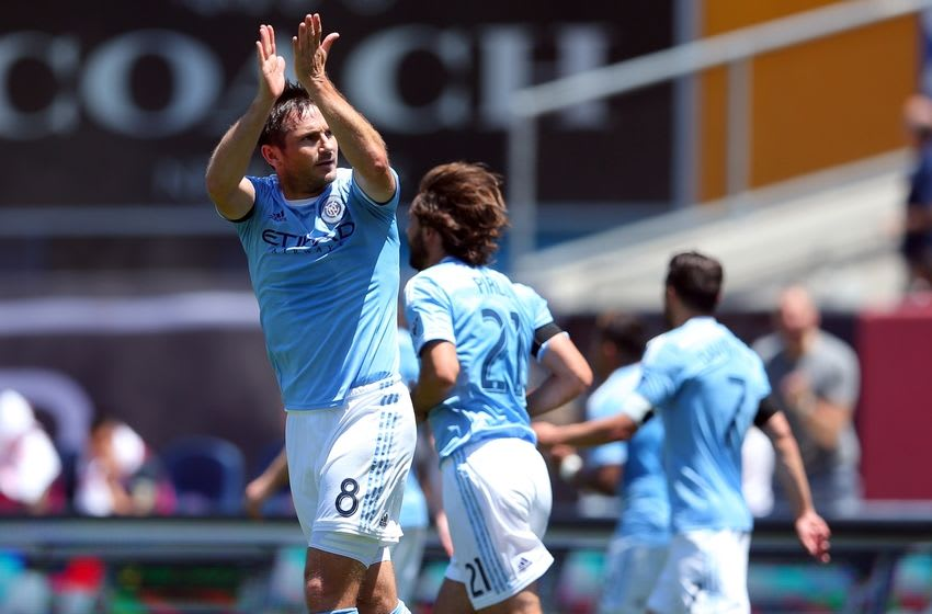 Jun 18, 2016; New York, NY, USA; New York City FC midfielder Frank Lampard (8) celebrates his goal against the Philadelphia Union during the first half at Yankee Stadium. Mandatory Credit: Brad Penner-USA TODAY Sports