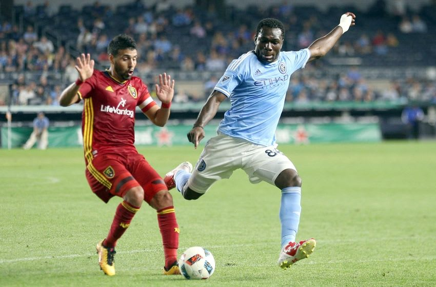 Jun 2, 2016; New York, NY, USA; New York City FC midfielder Kwadwo Poku (88) plays the ball against Real Salt Lake midfielder Javier Morales (11) during the second half at Yankee Stadium. Real Salt Lake defeated New York City 3-2. Mandatory Credit: Brad Penner-USA TODAY Sports
