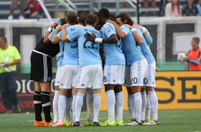 Jun 17, 2015; Hempstead, NY, USA; New York City FC before the game against the New York Cosmos at Shuart Stadium. Mandatory Credit: Anthony Gruppuso-USA TODAY Sports