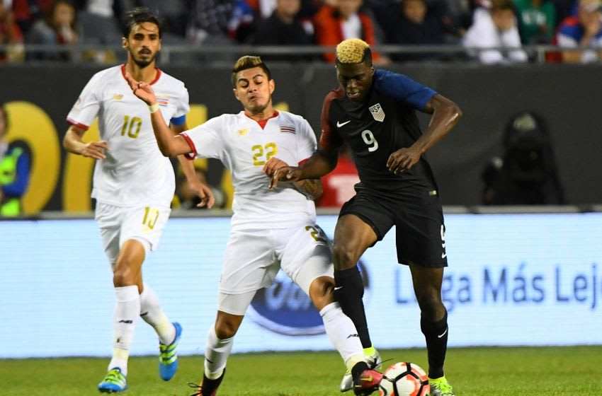 Jun 7, 2016; Chicago, IL, USA; United States forward Gyasi Zerdes (9) kicks the ball past Costa Rica defender Ronald Matarrita (22) in the second half during the group play stage of the 2016 Copa America Centenario at Soldier Field. The United States defeated Costa Rica 4-0. Mandatory Credit: Mike DiNovo-USA TODAY Sports