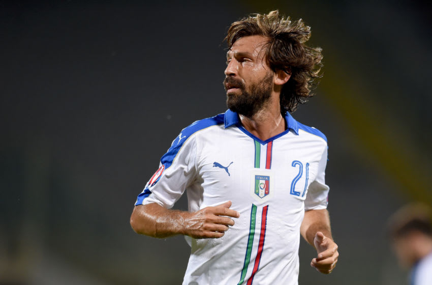 FLORENCE, ITALY - SEPTEMBER 03: Andrea Pirlo of Italy looks on during the EURO 2016 Group H Qualifier match between Italy and Malta on September 3, 2015 in Florence, Italy. (Photo by Claudio Villa/Getty Images)