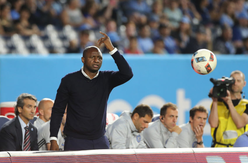 NEW YORK, NEW YORK - June 02: Patrick Vieira, head coach of NYCFC reacts on the sideline during his sides 3-2 loss in the NYCFC Vs Real Salt Lake regular season MLS game at Yankee Stadium on June 02, 2016 in New York City. (Photo by Tim Clayton/Corbis via Getty Images)
