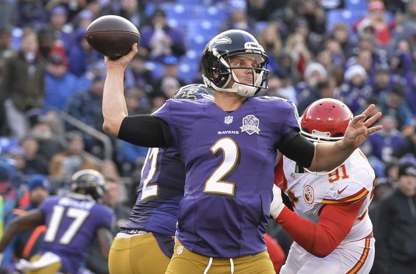 Dec 20, 2015; Baltimore, MD, USA; Baltimore Ravens quarterback Jimmy Clausen (2) throws during the third quarter against the Baltimore Ravens at M&T Bank Stadium. Kansas City Chiefs defeated Baltimore Ravens 34-14. Mandatory Credit: Tommy Gilligan-USA TODAY Sports
