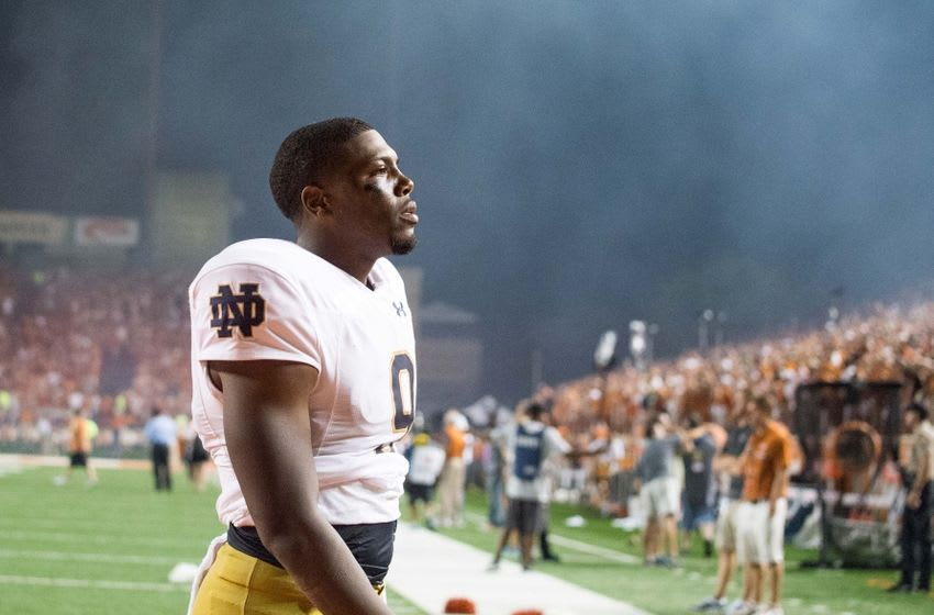 Sep 4, 2016; Austin, TX, USA; Notre Dame Fighting Irish quarterback Malik Zaire (9) leaves the field after Texas defeated Notre Dame 50-47 in double overtime at Darrell K. Royal-Texas Memorial Stadium. Mandatory Credit: Matt Cashore-USA TODAY Sports