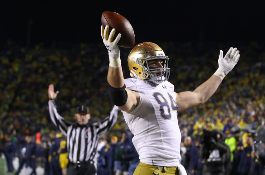 ANN ARBOR, MICHIGAN - OCTOBER 26: Cole Kmet #84 of the Notre Dame Fighting Irish celebrates his second half touchdown against the Michigan Wolverines at Michigan Stadium on October 26, 2019 in Ann Arbor, Michigan. Michigan won the game 45-14. (Photo by Gregory Shamus/Getty Images)