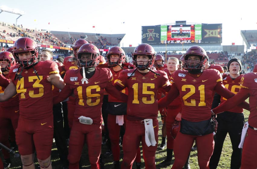 AMES, IA - NOVEMBER 23: Iowa State Cyclones celebrate after winning 41-31 over the Kansas Jayhawks at Jack Trice Stadium on November 23, 2019 in Ames, Iowa. The Iowa State Cyclones won 41-31 over the Kansas Jayhawks. (Photo by David Purdy/Getty Images)