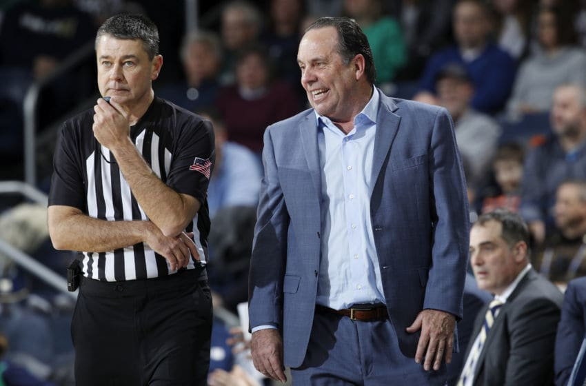 SOUTH BEND, IN - JANUARY 11: Head coach Mike Brey of the Notre Dame Fighting Irish reacts in the second half of the game against the Louisville Cardinals at Purcell Pavilion on January 11, 2020 in South Bend, Indiana. Louisville defeated Notre Dame 67-64. (Photo by Joe Robbins/Getty Images)