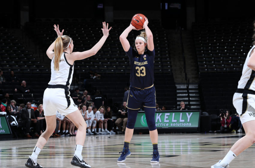 WINSTON-SALEM, NC - FEBRUARY 06: Sam Brunelle #33 of the University of Notre Dame holds the ball during a game between Notre Dame and Wake Forest at Lawrence Joel Veterans Memorial Coliseum on February 06, 2020 in Winston-Salem, North Carolina. (Photo by Andy Mead/ISI Photos/Getty Images)