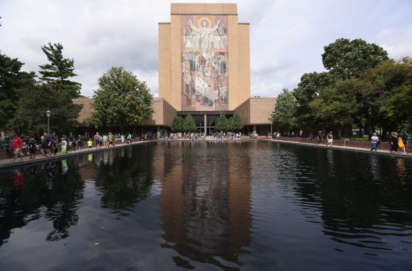 SOUTH BEND, IN - AUGUST 30: The mural at the Hesburgh Library, commonly known as