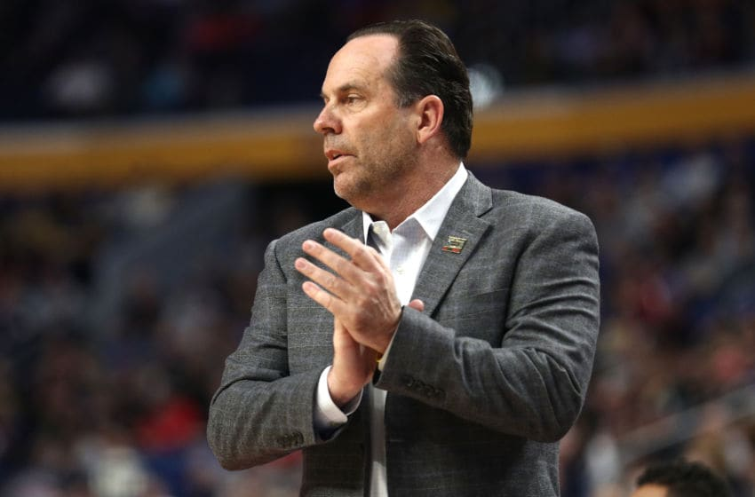BUFFALO, NY - MARCH 16: Head coach Mike Brey of the Notre Dame Fighting Irish claps during the first half against the Princeton Tigers during the first round of the 2017 NCAA Men's Basketball Tournament at KeyBank Center on March 16, 2017 in Buffalo, New York. (Photo by Maddie Meyer/Getty Images)