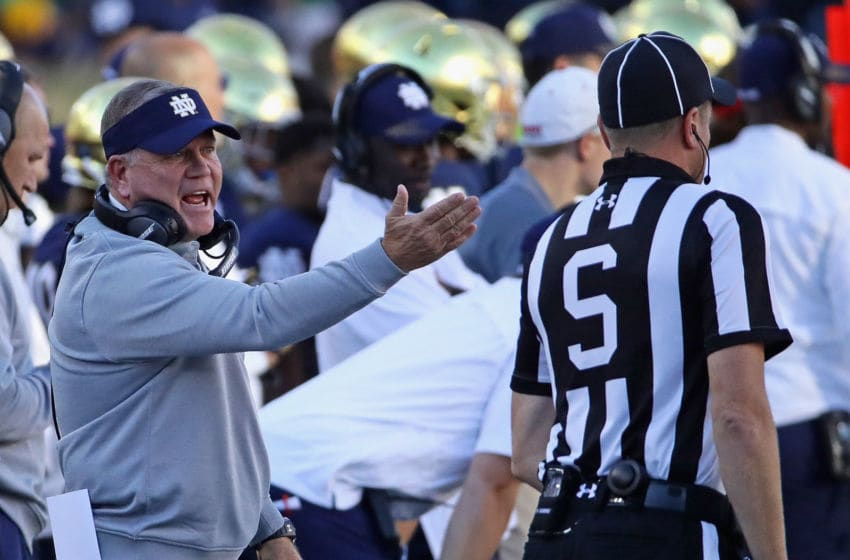 SOUTH BEND, IN - SEPTEMBER 30: Head coach Brian Kelly of the Notre Dame Fighting Irish yells at a referee during a game against the Miami (Oh) Redhawks at Notre Dame Stadium on Seotember 30, 2017 in South Bend, Indiana. (Photo by Jonathan Daniel/Getty Images)