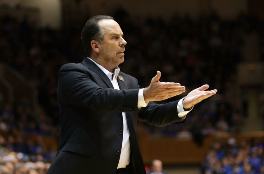 DURHAM, NC - JANUARY 29: Head coach Mike Brey of the Notre Dame Fighting Irish reacts against the Duke Blue Devils during their game at Cameron Indoor Stadium on January 29, 2018 in Durham, North Carolina. (Photo by Streeter Lecka/Getty Images)